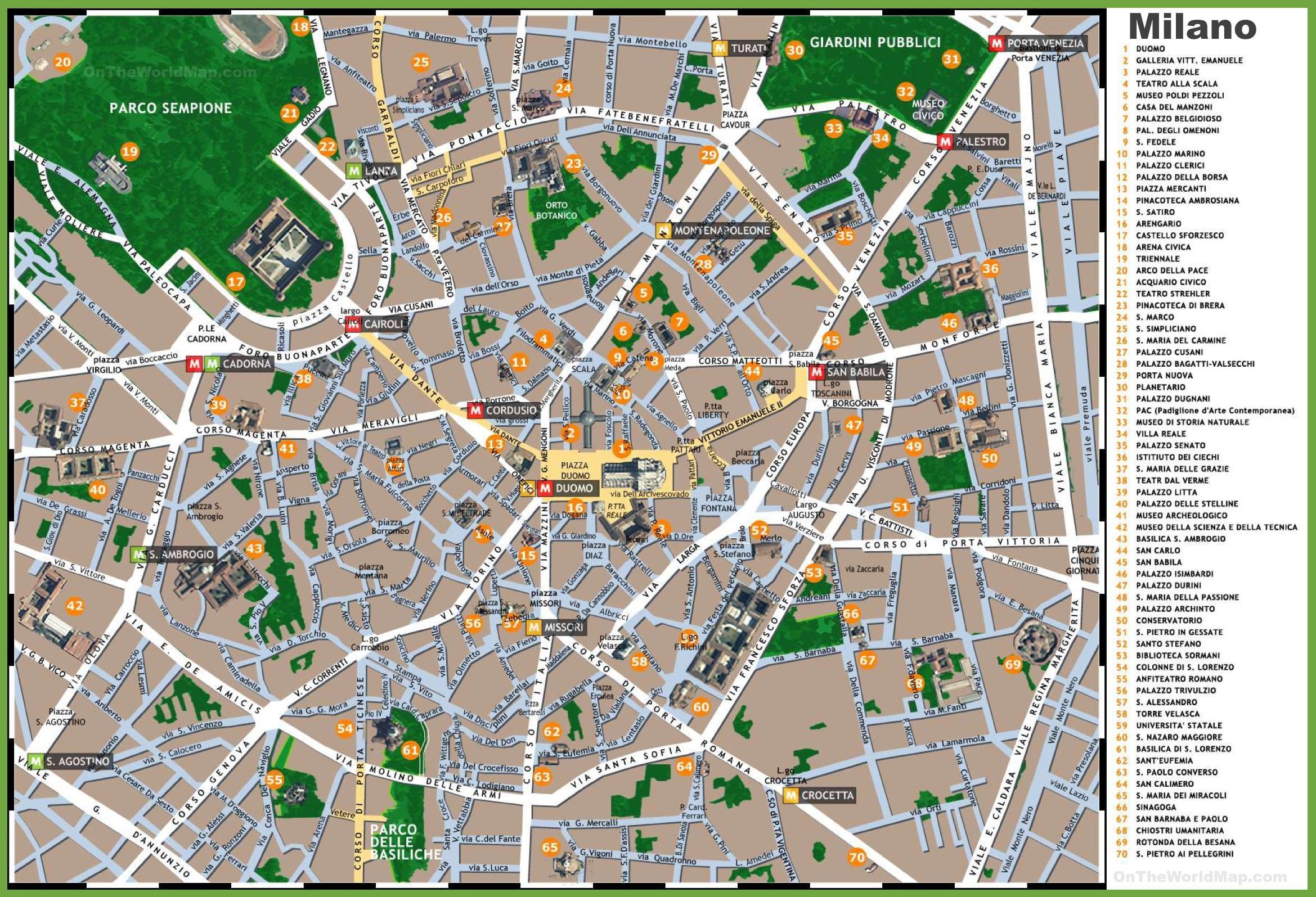 Turisticheskaya Karta Milano Milan Obzornaya Karta Lombardiya Italiya